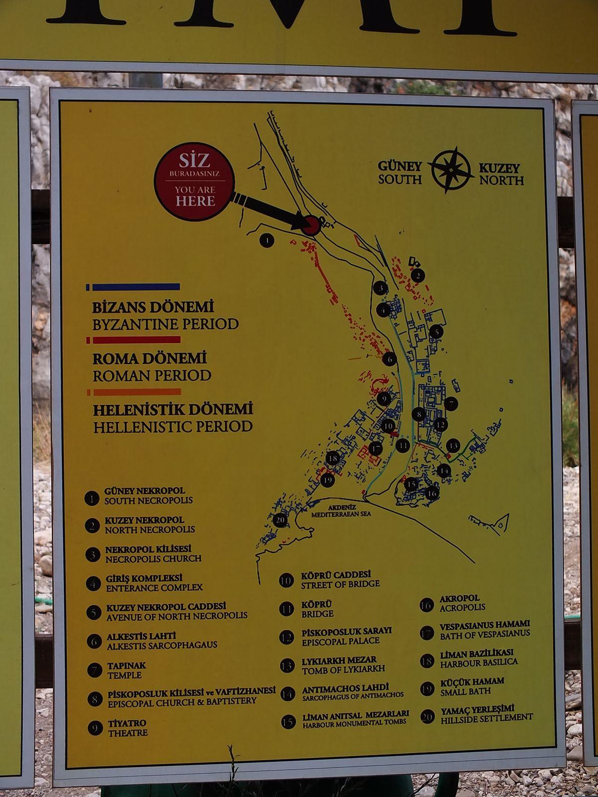 Olimpos Antik Kenti Haritası